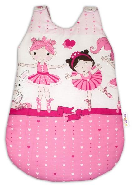 Bavlněný spací vak Baby Nellys, Princess, 74 cm -růžový