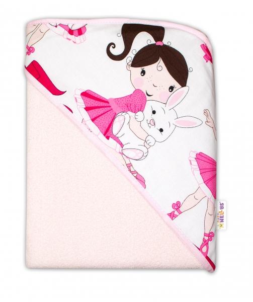 Dětská termoosuška s kapucí Baby Nellys, Princess, 100 x 100 cm  - růžová