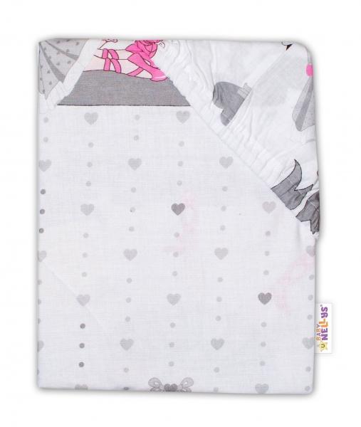 Baby Nellys Dětské bavlněné prostěradlo do postýlky - Princess, šedá, 140 x 70 cm