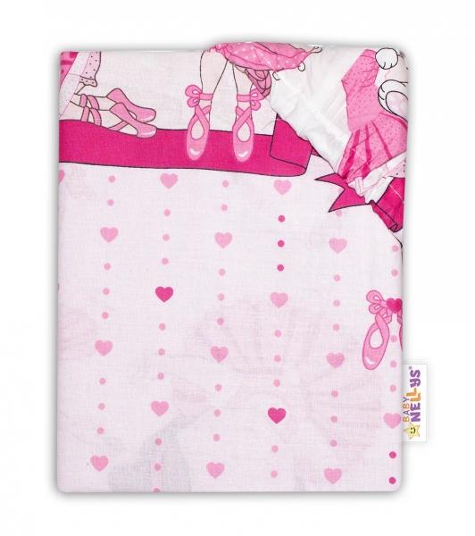 Baby Nellys Dětské bavlněné prostěradlo do postýlky - Princess, růžová, 140 x 70 cm