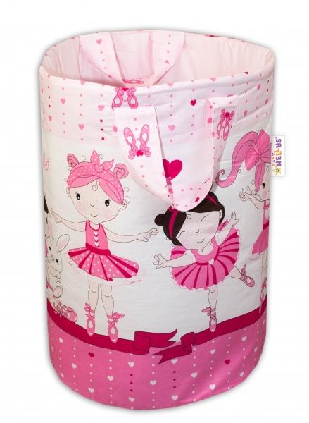 Bavlněný koš na hračky Baby Nellys, Princess -růžová