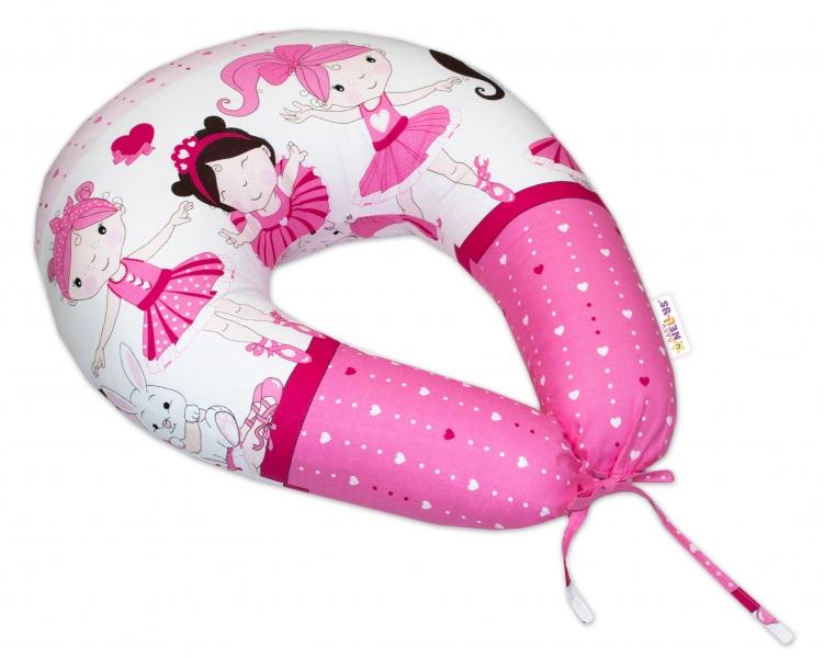 Bavlněný kojící polštář Baby Nellys -Princess růžový