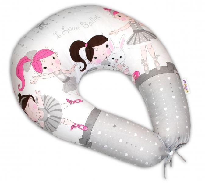 Bavlněný kojící polštář Baby Nellys - Princess šedý
