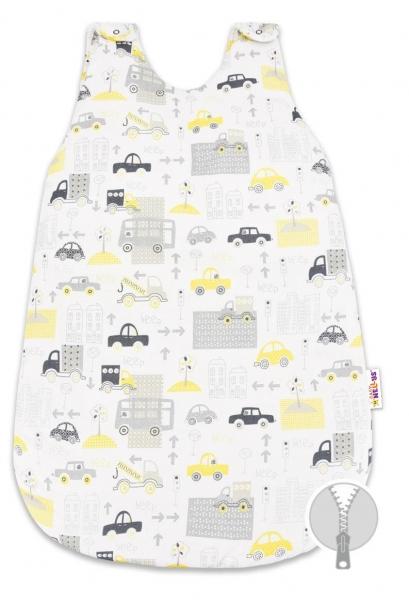 Bavlněný spací vak Baby Nellys, Městečko, 0 - 6 m , 74 cm - šedý