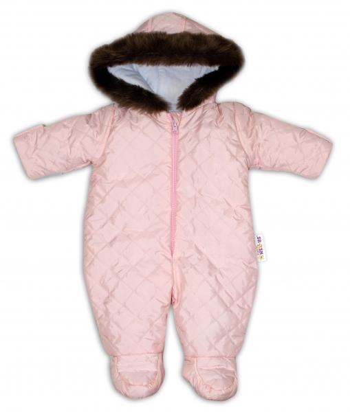 Kombinéza s kapucí a kožíškem Baby Nellys ®prošívaná - sv. růžová