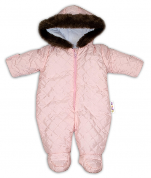 Kombinéza s kapucí a kožíškem Baby Nellys ®prošívaná - sv. růžová, vel. 62