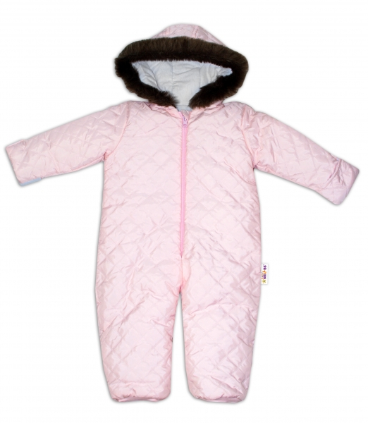 Kombinéza s kapucí a kožíškem Baby Nellys ®prošívaná, bez šlapek, sv. růžová, vel. 80