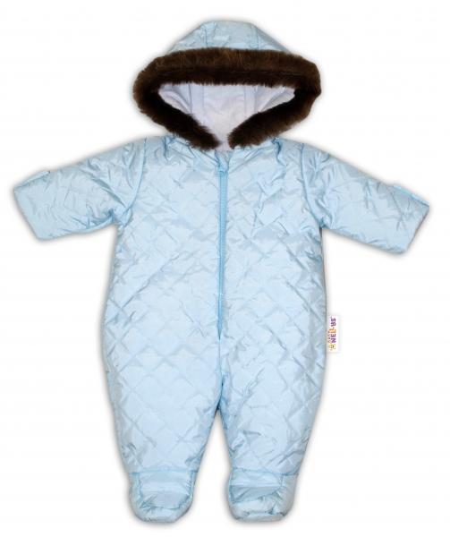 Kombinéza s kapucí a kožíškem Baby Nellys ®prošívaná - sv. modrá, vel. 68, Velikost: 68 (4-6m)