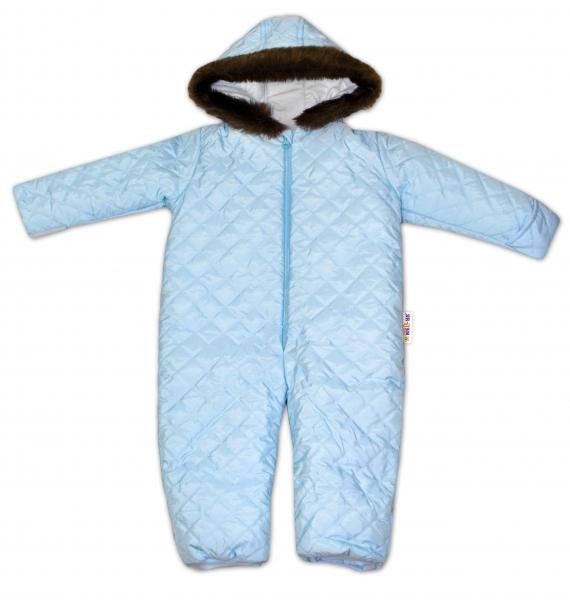 Kombinéza s kapucí a kožíškem Baby Nellys ®prošívaná, bez šlapek - sv. modrá