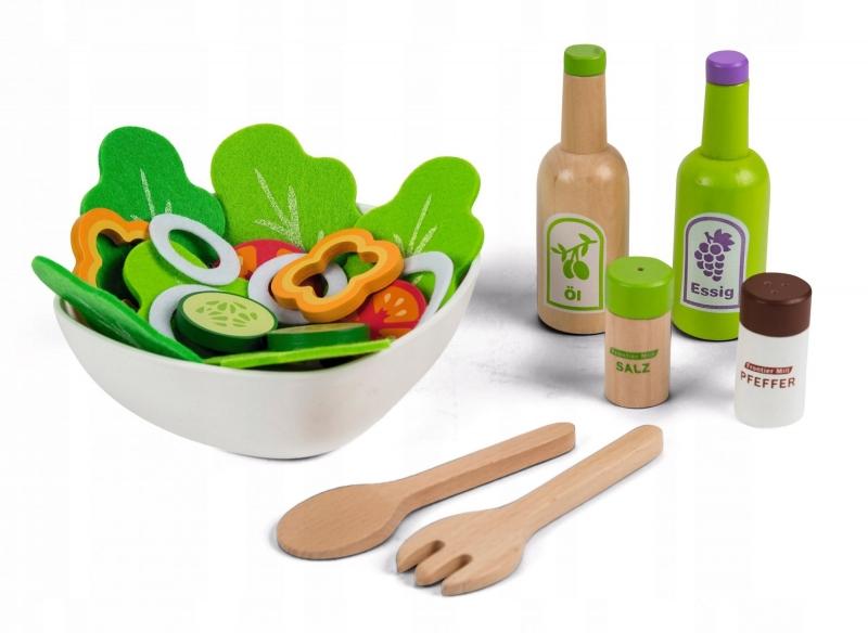 Dřevěná hračka - Sada na přípravu salátu Eco Toys