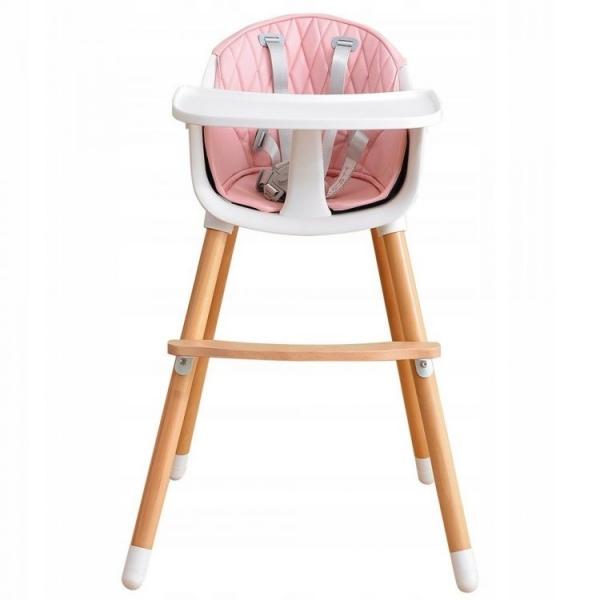 Dřevěná jídelní židlička 2v1 Eco Toys - růžová