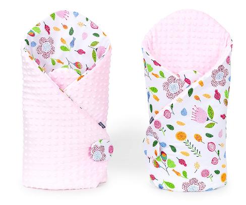 Mamo Tato Oboustranná zavinovačka Minky Baby - Louka růžová/ sv. růžová