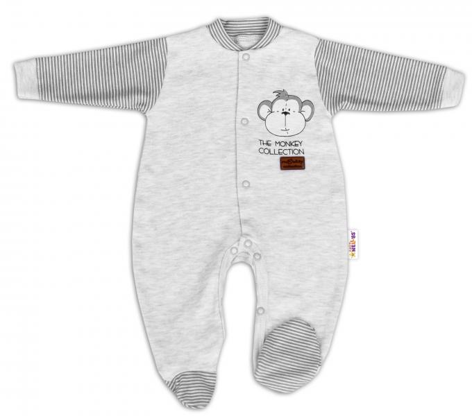 Baby Nellys Bavlněný overálek Monkey - sv. šedý melírek, vel. 68