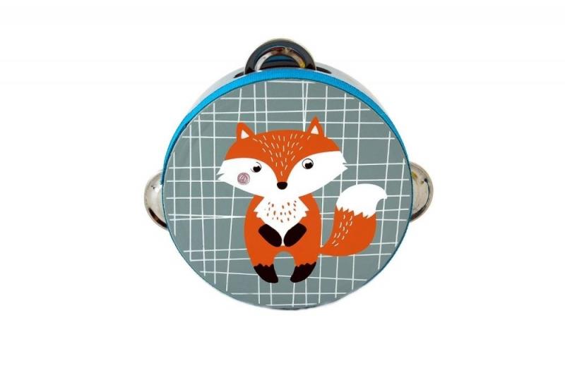 Adam Toys  Dětská tamburína s motivem lišky - modrá