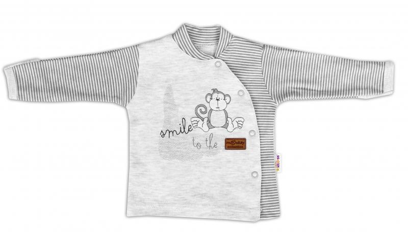 Baby Nellys Bavlněná košilka Monkey zapínání bokem - sv. šedý melírek, vel. 68