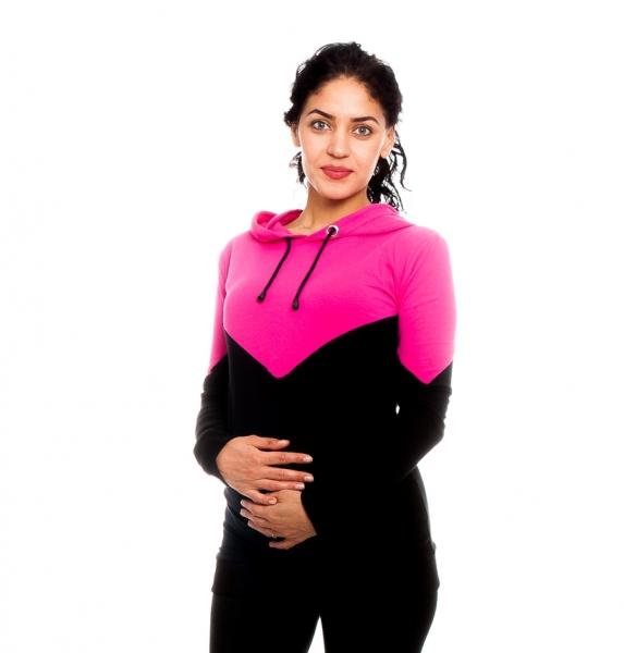 Be MaaMaa Těhotenské, kojící triko/mikina s kapucí Elise, černo/růžová, vel. S, Velikost: S (36)
