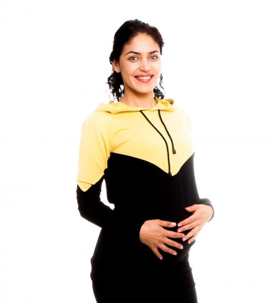 Be MaaMaa Těhotenské, kojící triko/mikina s kapucí Elise, černo/žlutá, vel. M, Velikost: M (38)