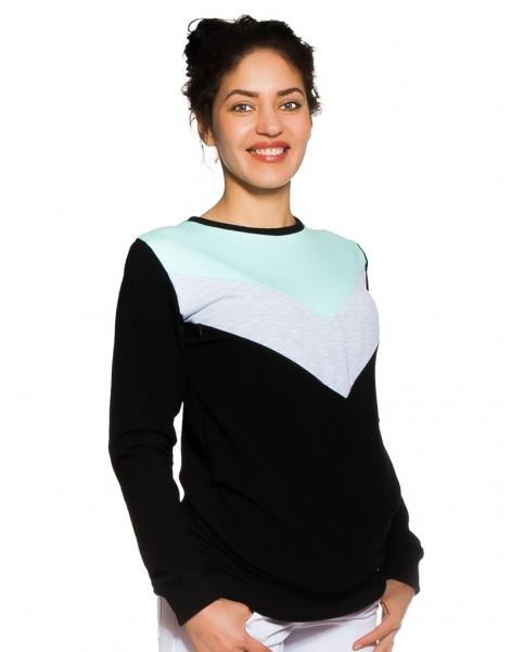 Be MaaMaa Těhotenské, kojící tričko/mikina Karen, černá-šedo/mátové pruhy vel. L, Velikost: L (40)