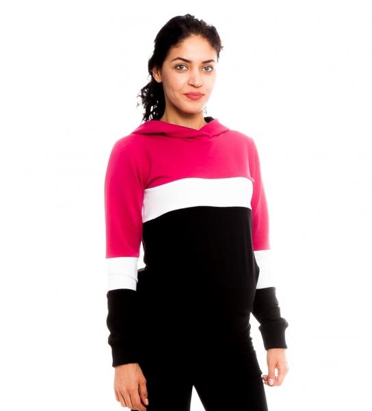 Be MaaMaa Těhotenské, kojící tričko/mikina Gladys, černo-bílo-růžová, vel. XL, Velikost: XL (42)