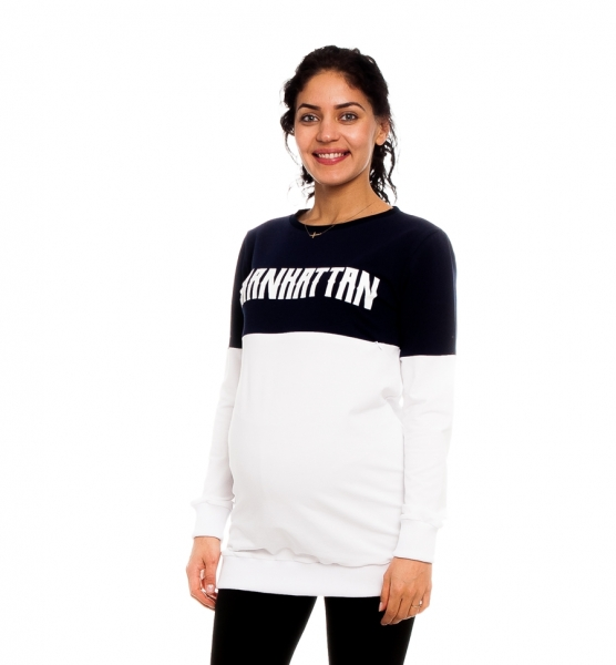 Be MaaMaa Těhotenské, kojící tričko/mikina Manhattan, bílo-granátová, vel. M