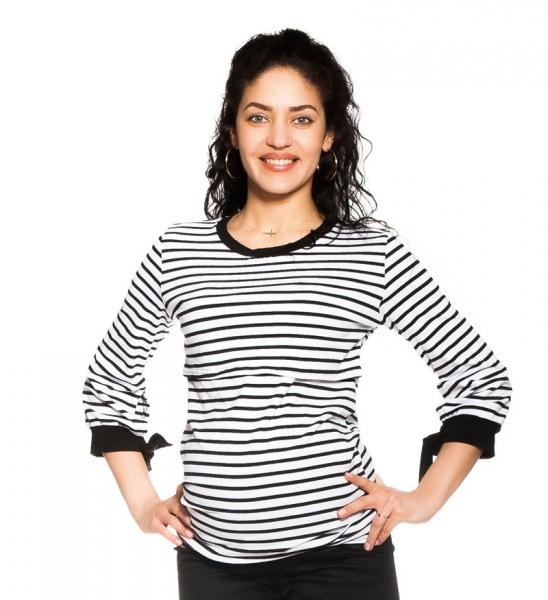 Be MaaMaa Těhotenské, kojící  tričko Belora, bílo-černé, vel. L