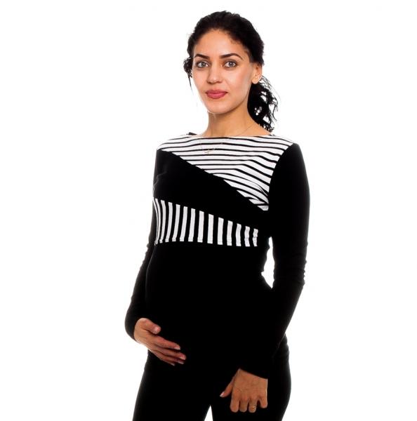 Be MaaMaa Těhotenské, kojící  tričko Nelly, černé - bílé proužky, vel. XL