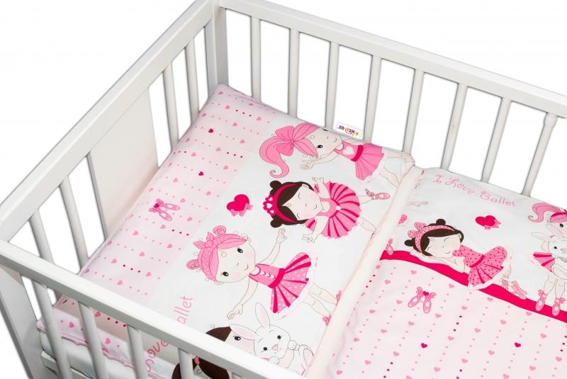 2-dílné bavlněné povlečení s minky Baby Nellys - Princess, růžová/růžovável. 120x90