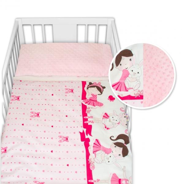 2-dílné bavlněné povlečení s minky Baby Nellys - Princess, růžová/růžová