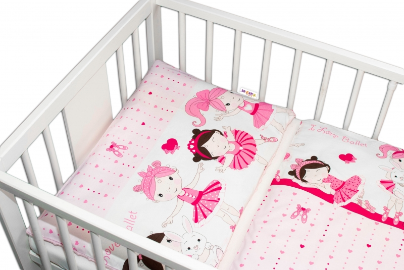 2-dílné bavlněné povlečení s minky Baby Nellys - Princess, růžová/růžová, 135 x 100 cm