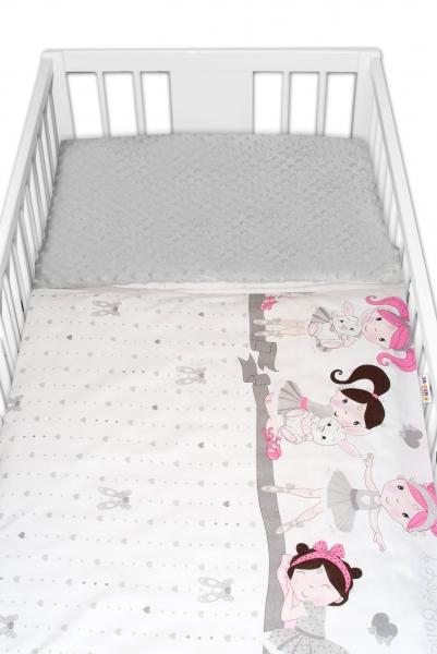 2-dílné bavlněné povlečení s minky Baby Nellys - Princess, šedá/šedá, 135 x 100 cm