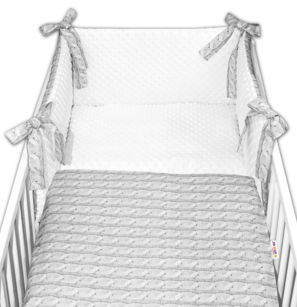 3-dílná sada mantinel s povleč. minky Baby Nellys - Pletený cop, minky bílá, 135x100cm, Velikost: 135x100