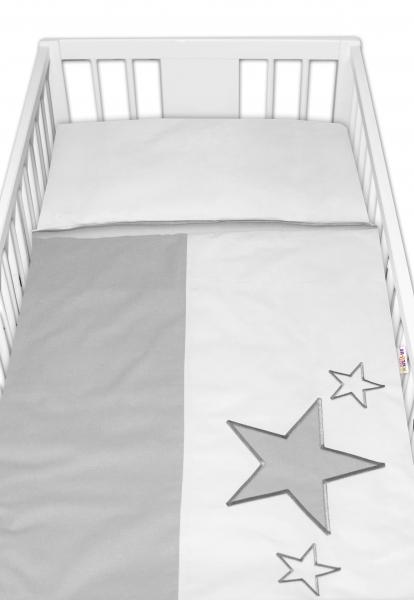 Baby Nellys Povlečení do postýlky Baby Stars - šedé, vel. 135x100 cm
