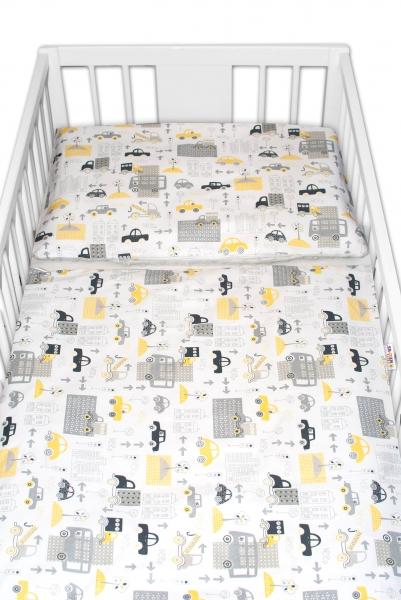 2-dílné bavlněné povlečení s minky Baby Nellys - Městečko, šedá/šedá, 135 x 100 cm