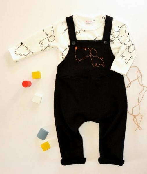 K-Baby Sada 1 x body dl. rukáv + 1 x tepláčky s láclem, vel. 68