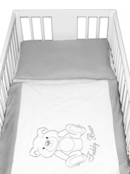 BABY NELLYS Povlečení do postýlky Teddy Bear - jersey - šedé