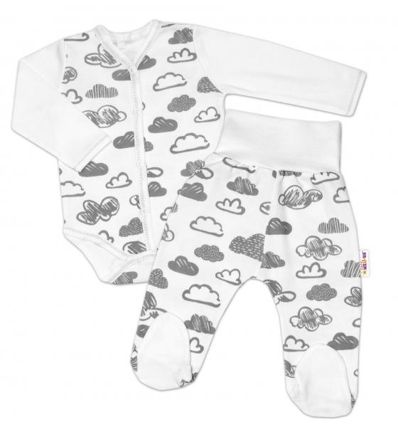 2-dílná kojenecká sada Baby Nellys - Mráčky - bílá