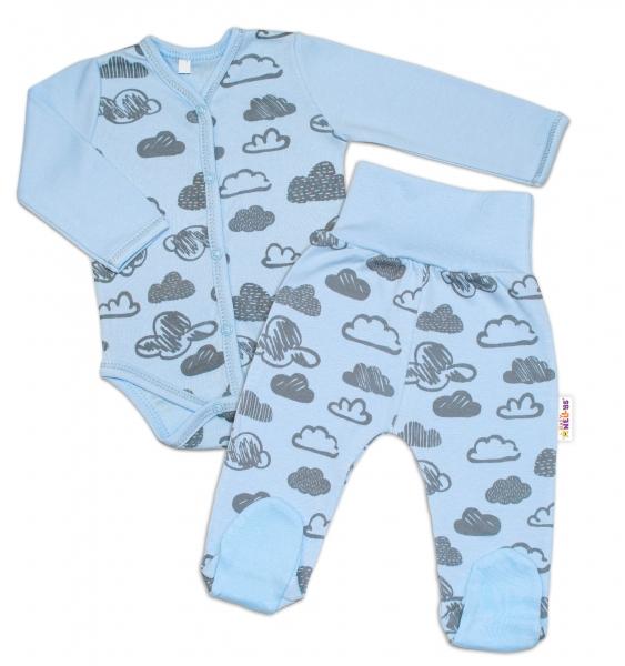 2-dílná kojenecká sada Baby Nellys - Mráčky - modrá, vel. 68