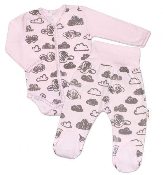 2-dílná kojenecká sada Baby Nellys - Mráčky - růžová, vel. 62
