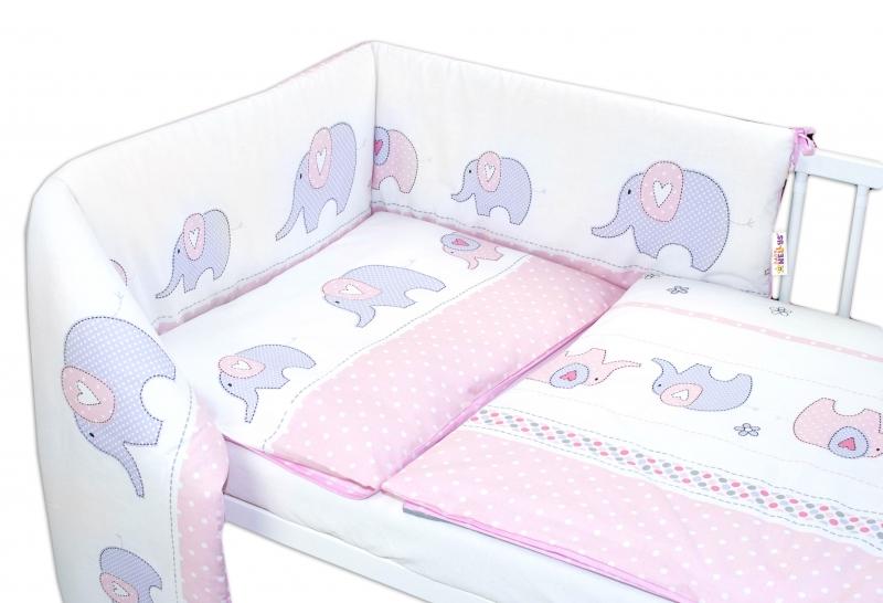 Baby Nellys 3-dílná sada - mantinel s povlečením Sloni - růžové