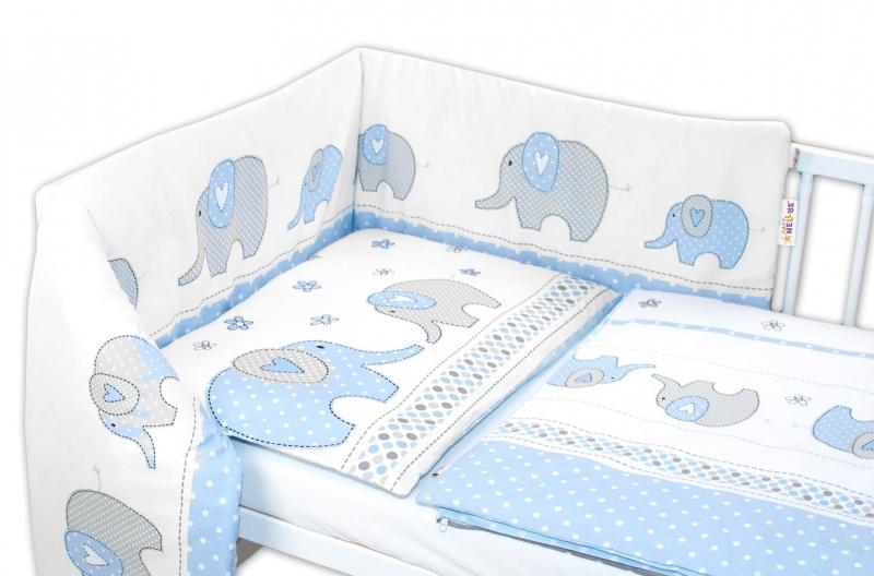 Baby Nellys 3-dílná sada - mantinel s povlečením Sloni - modré,135x100cm