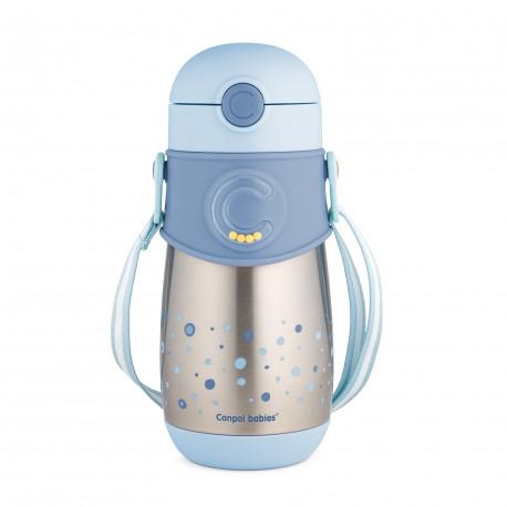 Canpol BabiesTermoláhev se silikonovou slámkou 300 ml - modrý