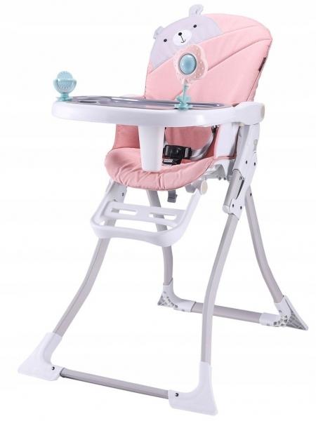 Eco toys Jídelní židlička - Růžový medvídek
