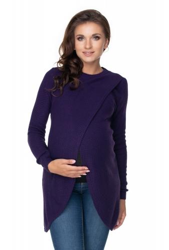 Be MaaMaa Těhotenský, kojící svetřík se stojáčkem - fialový