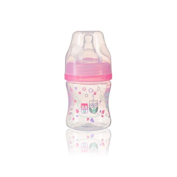 BabyOno Antikoliková lahev se širokým hrdlem, 120ml - růžová