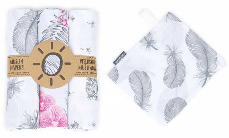 Mamo Tato Mušelínové plenky 3ks + žínka zdarma - pampeliška, květy, pírka