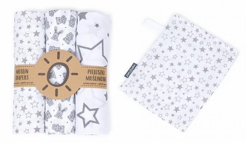 Mamo Tato Mušelínové plenky 3ks + žínka zdarma - hvězdy, zajíčci, hvězdičky