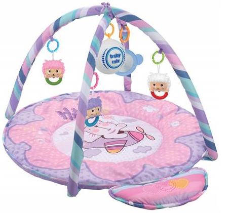 BABY MIX Vzdělávací hrací deka - Medvídek růžový