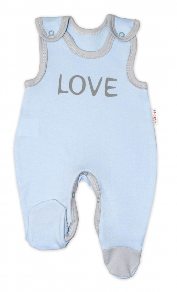 Kojenecké bavlněné dupačky Baby Nellys, Love - modré