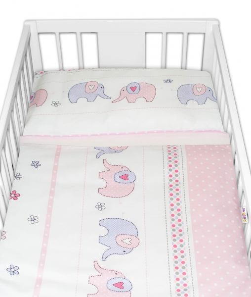 2-dílné bavlněné povlečení Baby Nellys Sloni - růžové, 135x100 cm