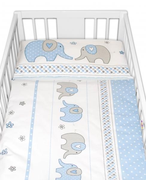 2-dílné bavlněné povlečení Baby Nellys Sloni - modré, 135x100 cm